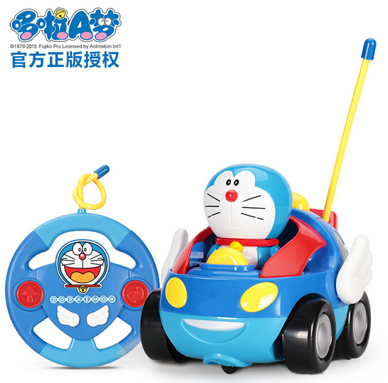 Free Shipping Cute Cartoon Doraemon Radio control Cars Wireless Radio Control Toy for Toddlers Kids(China (Mainland))
