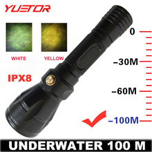 YUETOR ipx8 waterproof professional diving flashlight 2000 LM cree XML-L2 torch 18650 rechargeable battery white yellow light