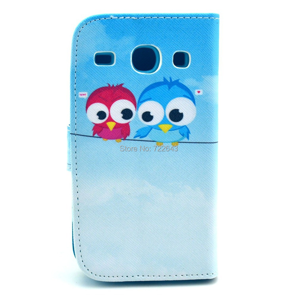 Newest Sky Blue Two Little Cute Birds Magnetic Flip Pu