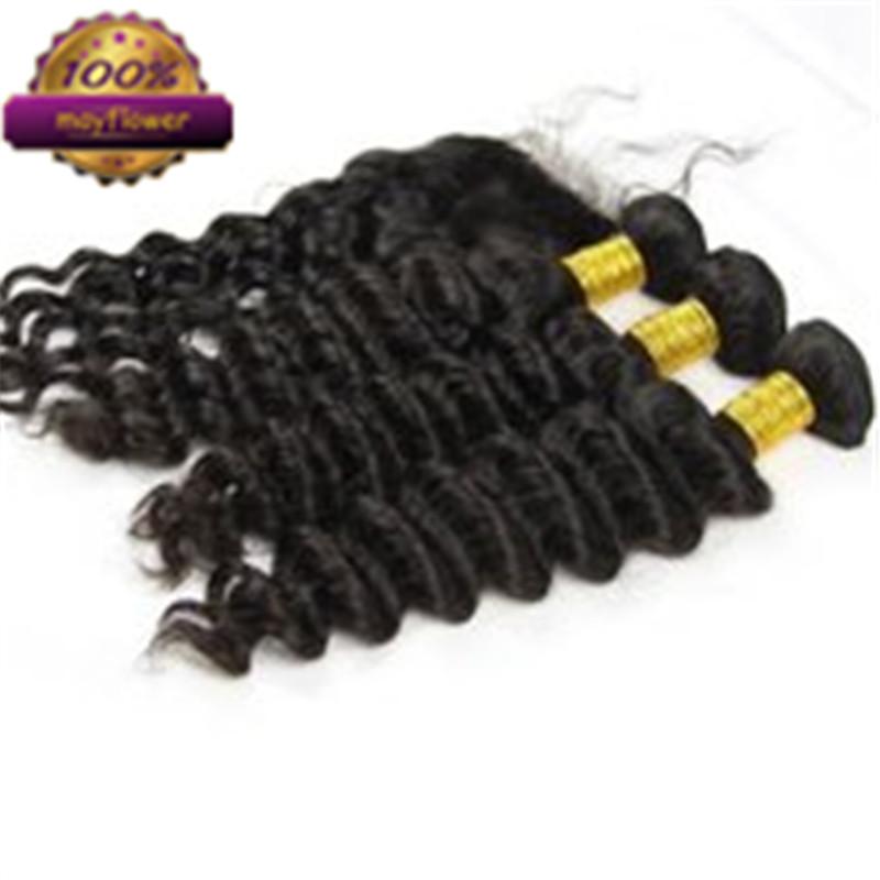 Здесь можно купить  aliexpress raw peruvian human natural color 3 bundles hair deep wave style hair extensions with 3 part lace 4*4  base closure  Волосы и аксессуары