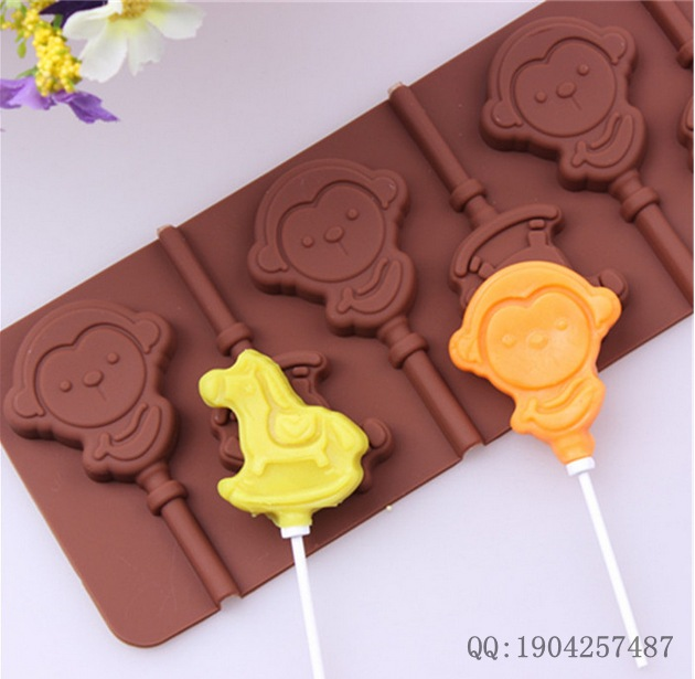 DIY tools supply 6 hole monkey lollipop mold DIY silicone chocolate mold with stick CDSM-180(China (Mainland))