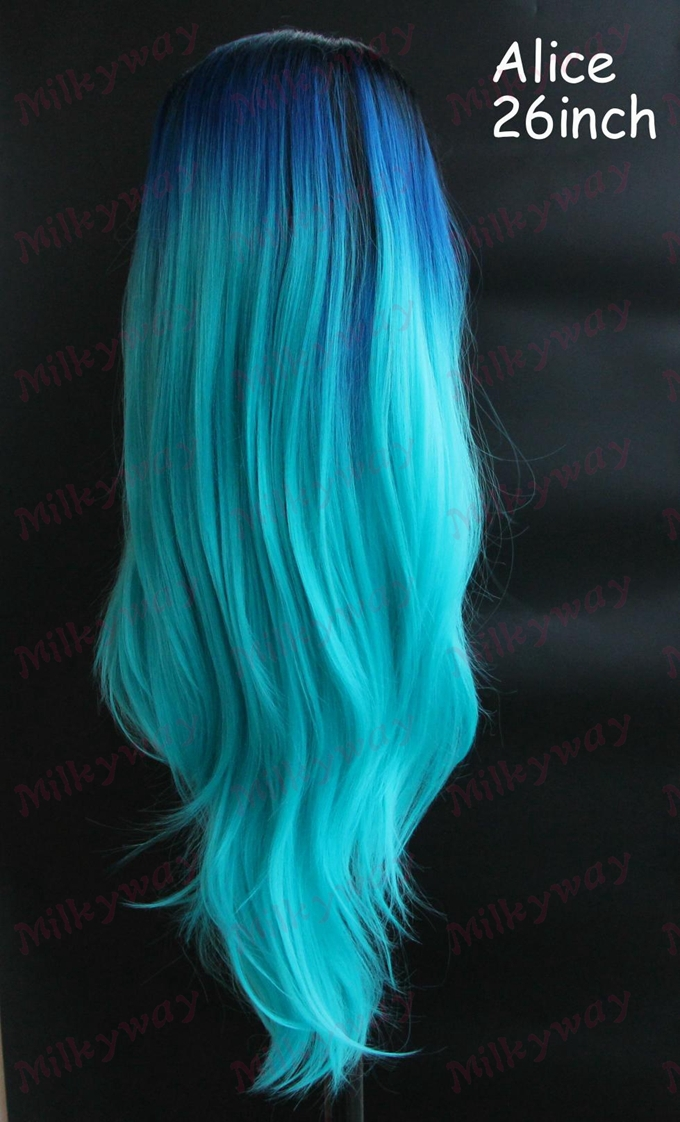 Free Shipping turquoise black/blue/green ombre tone synthetic lace front wig heat resistant wig Alice<br><br>Aliexpress