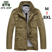 M - 5XL 6XL 7XL 8XL Large size (60-130kg) AFS JEEP Men's jackets obesity man casual brand pure cotton plus jacket big coats #633(China (Mainland))