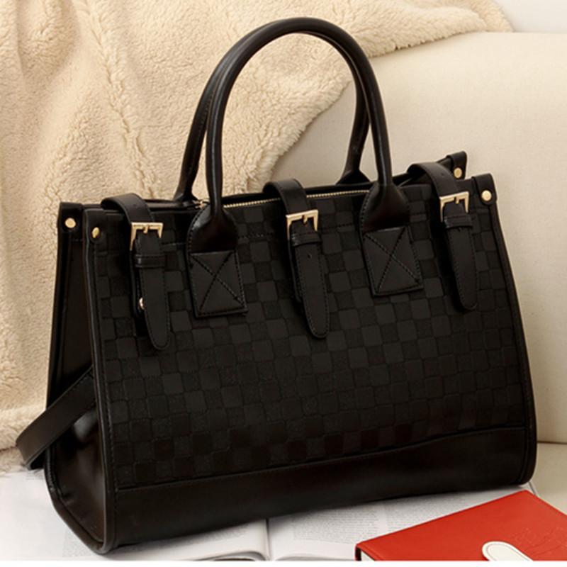 Hot Sale Brand European Bag Women Grid Pattern Faux Leather Handbag Tote Bags Womens Shoulder Messenger Bag Black H031(China (Mainland))