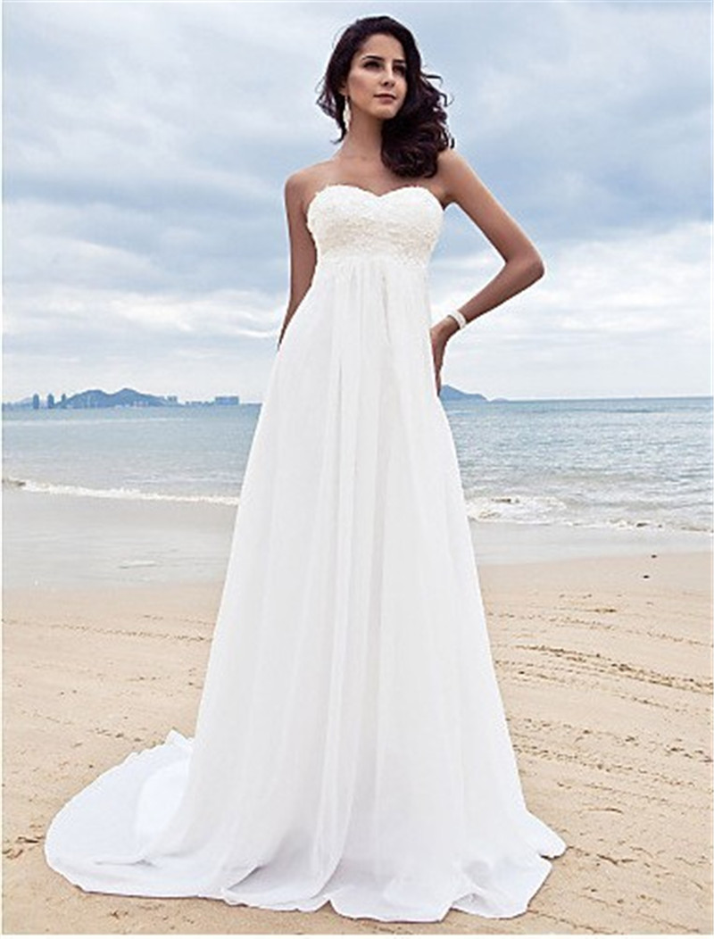 2015 hot sale beach wedding dress sweetheart sleeveless ForBeach Chiffon Wedding Dress