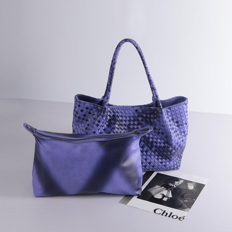 Hand woven Bag Famous Brand Knitting Leather Handbags Women Bag Fashion Composite Bag Handbag Shoulder Bags(China (Mainland))
