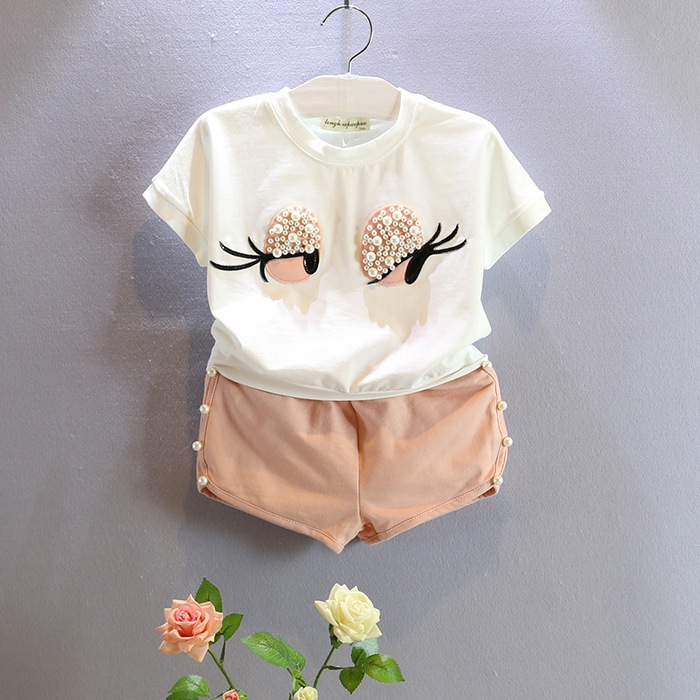 fashion baby girls summer clothes set kids big eye clothing set with rhinestones shirt with pants pink clohes suit retail <br><br>Aliexpress