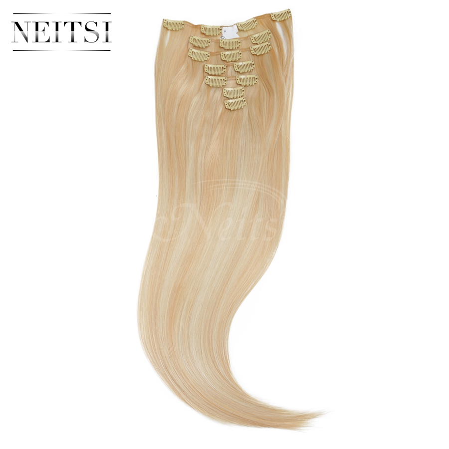 """Neitsi 22"""" 7pcs/set 140g 16clips Straight Ombre Synthetic Clip In Hair Extensions Heat Resistant Hair 27/613# Braiding Hairpiece(China (Mainland))"""
