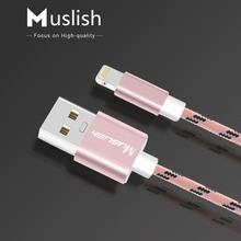 Buy Muslish For iPhone Cable Nylon Braided Fast Charging Cord USB Charger Cables 1m/3ft Data Sync iPhone 7 SE 5s iPad air iPod for $2.27 in AliExpress store