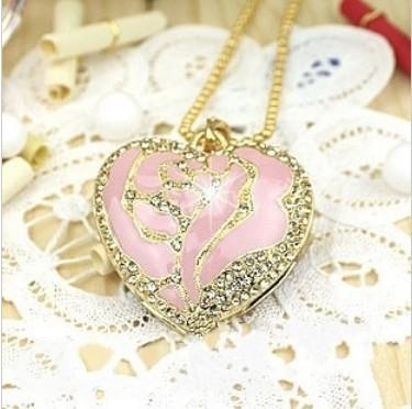 XC15 Free Shipping! Enough 2GB 4GB 8GB 16GB 32GB Crystal Metal Pink Rose Heart Necklace USB 2.0 Memory Flash Pen Drive+ Gift Box(China (Mainland))