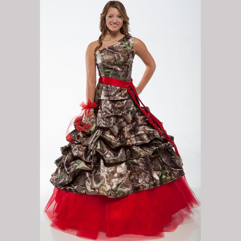 buy red one shoulder camo wedding dresses