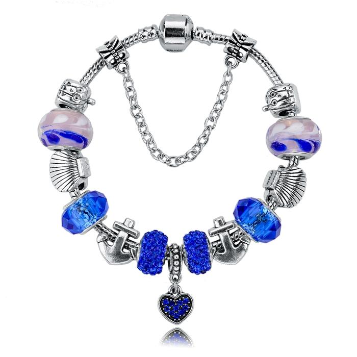 Bijoux 2015 New Charm Bracelets&Bangles Silver Blue Glas Beads 19cm*3cm Snake Chain Jewelry Bracelets For Women SBR140712(China (Mainland))