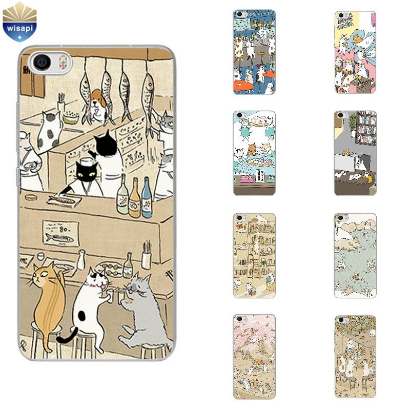 Phone Case Xiaomi Mi 4 4i 4c 4s 5 Max Note 2 TPU Shell Hongmi Redmi 3 Pro Note 2 3 4 Back Cover Cute Cat Drinking Design