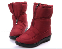 2015 Winter snow boots women's medium-leg boots flat slip-resistant thermal winter shoes maternity cotton-padded  winter boots