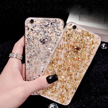 Gold Bling Paillette Sequin Skin Clear Soft TPU Case For iPhone 6 4.7 6S Ultra Slim Rubber Back Cover For iPhone 6 Plus/ 6S Plus(China (Mainland))