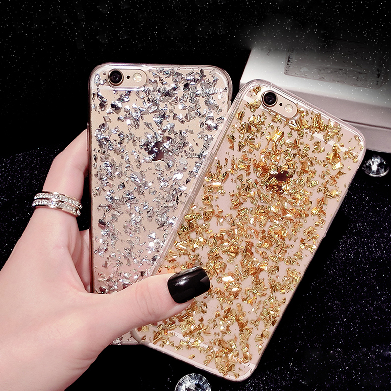Gold Bling Paillette Sequin Skin Clear Soft TPU Case For iPhone 6 4.7 6S 5 5S SE Slim Rubber Back Cover For iPhone 6 6S Plus 5.5(China (Mainland))