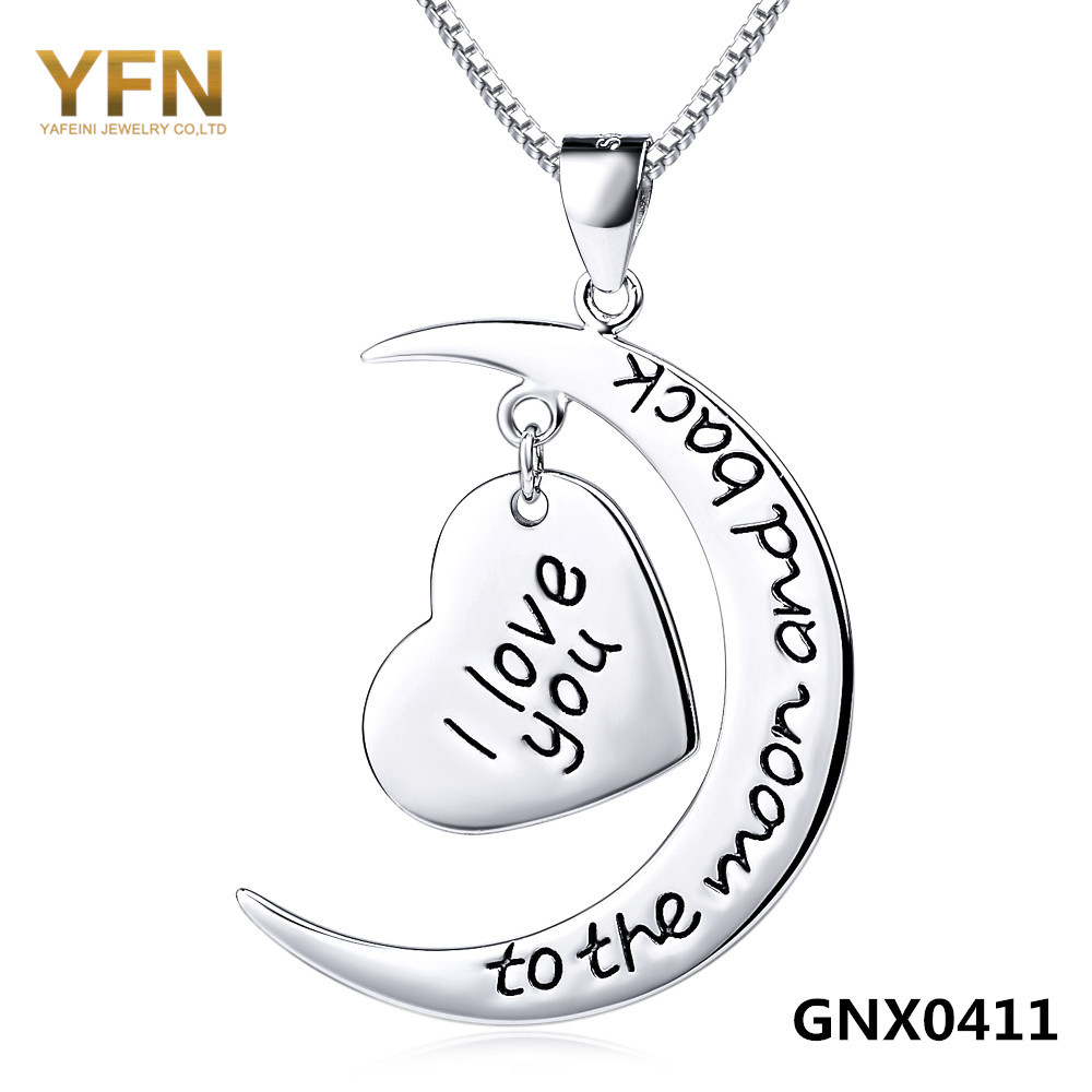 Wholesale GNX0411 925 Sterling Silver Necklace I Love You to The Moon and Back Love Necklace Moon and Heart Jewelry For Women(China (Mainland))