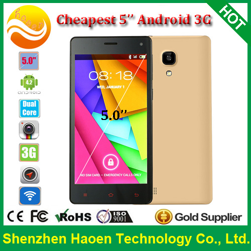 Best seller 5'' Android4.2 Mobile Phones with IPS Screen MT6572 512MB Ram 4G Rom 5M Camera Dual SIM GPS 3G Mobile Phone Android(China (Mainland))
