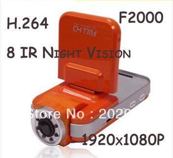 "F2000 Car DVR Recorder 2.0"" TFT Full HD 1920x1080P (30fps) H.264 8 IR Night Vision Car Black Box Ambarella CPU Russian Language"