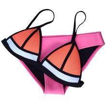 2015 New Women's Triangl Mesh Neoprene Swimwear Patchwork Neoprene Bikini Neon Bathing Suit Biquini Bikini XS-XL(China (Mainland))