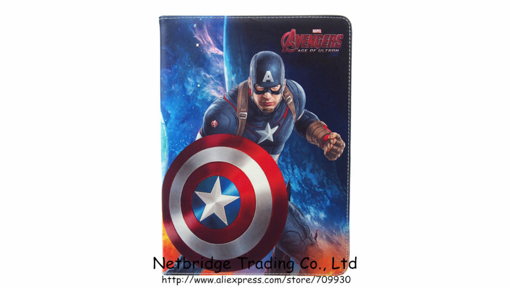 For iPad 5 6/ Air 1 2 The Avengers PU Leather Case for Apple iPad 6 Flip Cover Case +Protector<br><br>Aliexpress