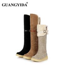 2016 venta caliente botas femininas botas planas sobre la rodilla botas de invierno de las mujeres señora shoes negro beige marrón botas de nieve 250(China (Mainland))