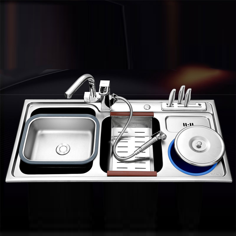 kitchen sink 920450220mm double bowl brushed 304 stainless steel kitchen sinks with soap dispenser multifunctional sink. beautiful ideas. Home Design Ideas