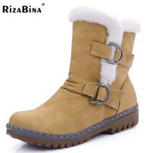 Rizabina mujeres botines punta redonda botas de mujer de piel caliente de invierno Botas de nieve Nueva Moda Hebilla Estilo de Calzado Zapatos de Tacón Bajo Size34-43(China (Mainland))