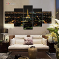 5PCS SET Eiffel Tower Oil Printed Painting On Canvas Modern Art Pictures For Living Room Wall