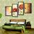 Oil Paintings 4 Panel Wall Art Sets of Flower Room Combination Handmade on Canvas Living room Decor
