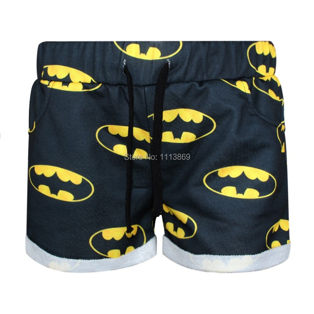 Harajuku New 2014 3D printed shorts casual summer panties great quality free size batman outside cotton inside Grid sexy shorts(China (Mainland))