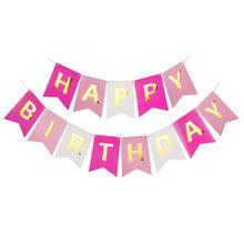 1 مجموعة ورقة عيد ميلاد سعيد الرايات راية حرف ذهب أكاليل معلقة الباستيل الوردي سلسلة أعلام استحمام الطفل حفلة الديكور 8z(China)