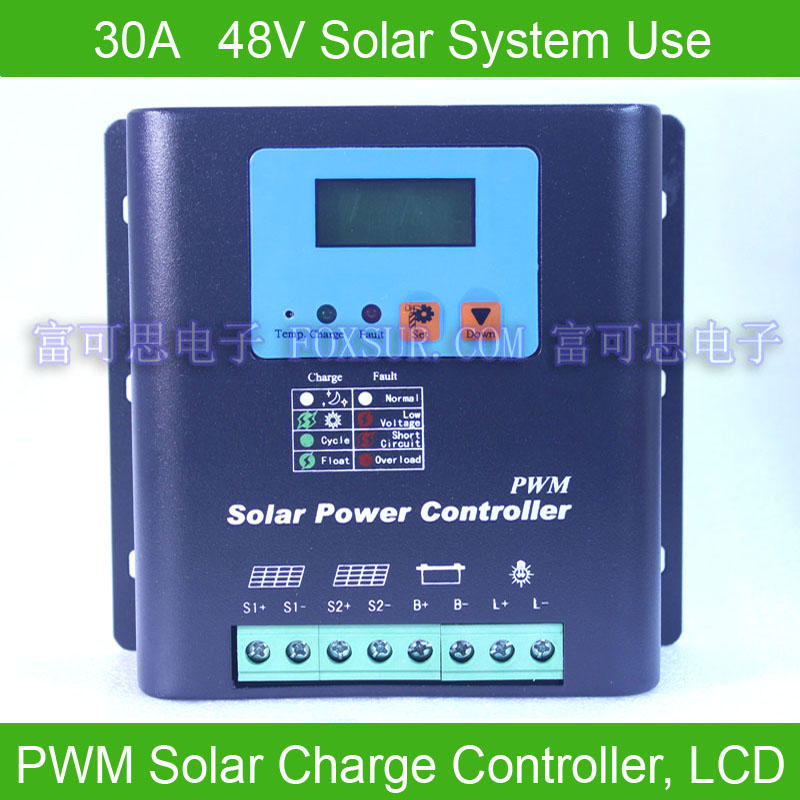 30A 48V PWM Solar Charge Controller, LCD display battery voltage capacity, Hi-Quality - Foxsur Electronics co., Ltd store