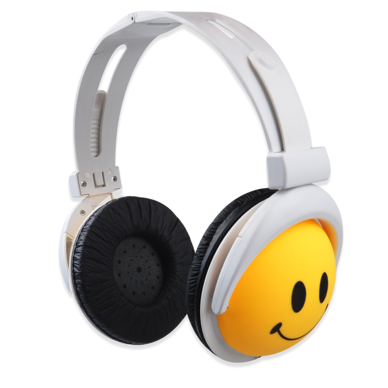 2015 Fashion Cute Headphone Style Smile Face Headphone Earphones Headset 3.5 Headphones Sports Headphone For Computer MP3 PSP(China (Mainland))