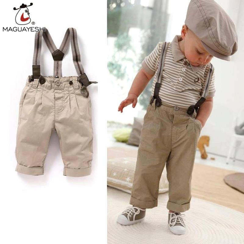 2016 New 2 pieces Summer Boys Clothing Sets Bib Pants Gentleman Set Cotton Shirt + Suspender Trousers Gen Baby Boy Clothes(China (Mainland))