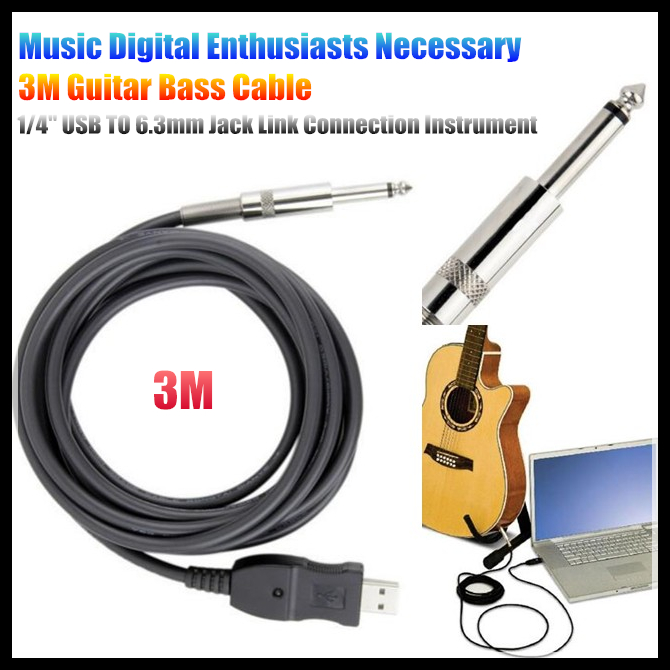 10pcs/lot! Music Digital Enthusiasts Necessary Newest 3M Guitar Bass 1/4'' USB TO 6.3mm Jack Link Connection Instrument Cable(China (Mainland))