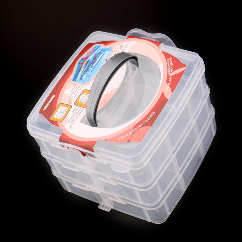 High Quality Three Layer cosmetic Multi-layer Plastic Transparent Nail Art Craft Makeup Jewelry Storage Box BS(China (Mainland))
