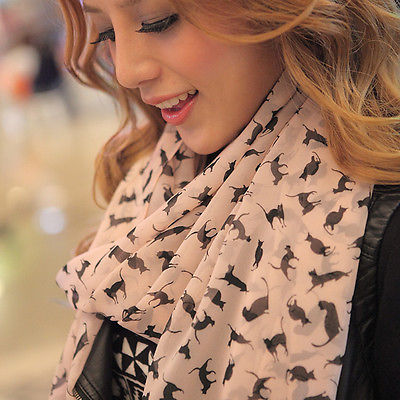 Free Shipping Women Fashion Long Wrap Shawl Chic Cat Printed Chiffon Scarf Stole Soft Scarve 2015 New Arrival Promotion(China (Mainland))