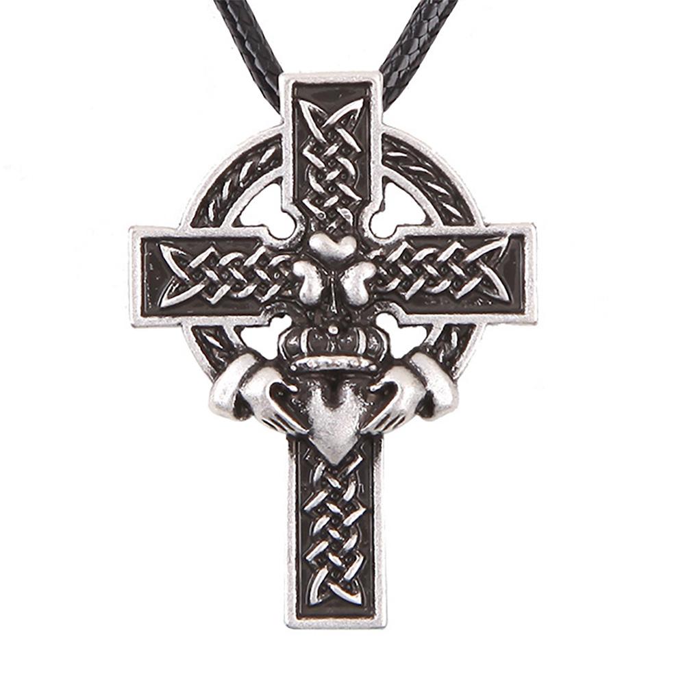 1pcs 4057 Claddagh Cross Pendant Necklace Heart Crown Knots Irish Necklaces Pendants Silver Charm Lead Free(China (Mainland))