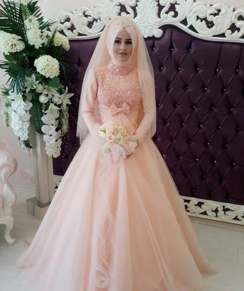 2016 A Line Pakistani Pink Dubai Abaya Kaftan Wedding