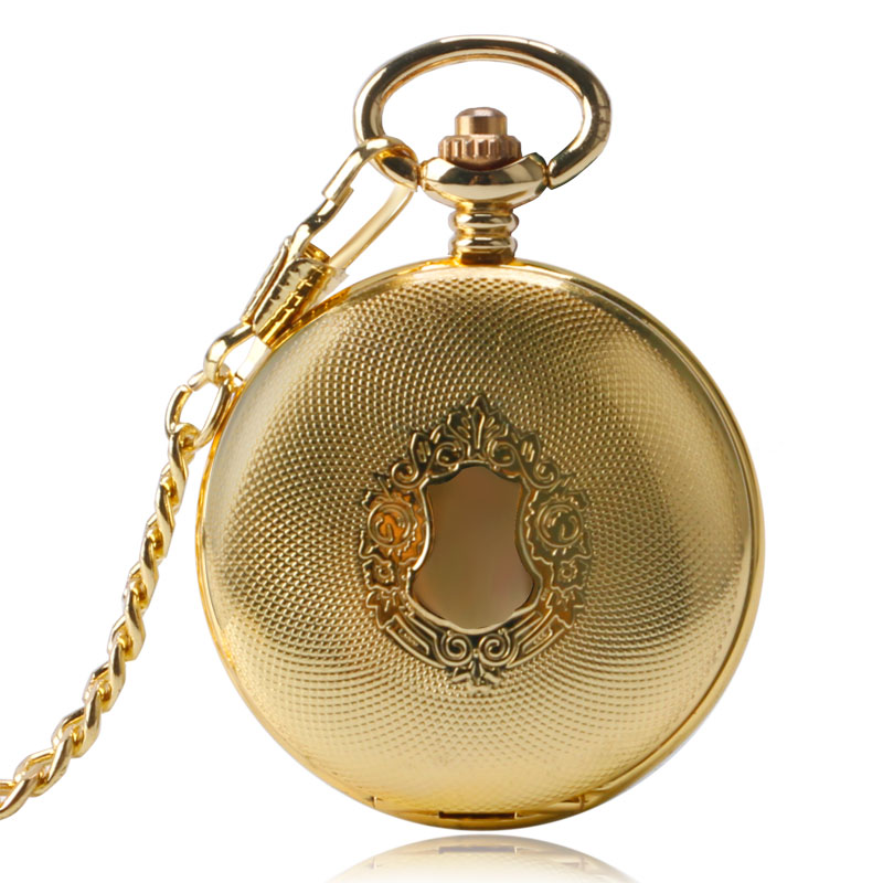 Golden Automatic Mechanical Pocket Watch Fob For Nurse Luxury Fashion Trendy Stylish Shield Pendant Men Women Christmas Gift(China (Mainland))