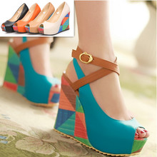 2016 New Women Pumps Fashion Bohemia Wedges Summer Ladies Wedding Shoes High Heels Peep toe Women's Platform Pumps beige blue(China (Mainland))