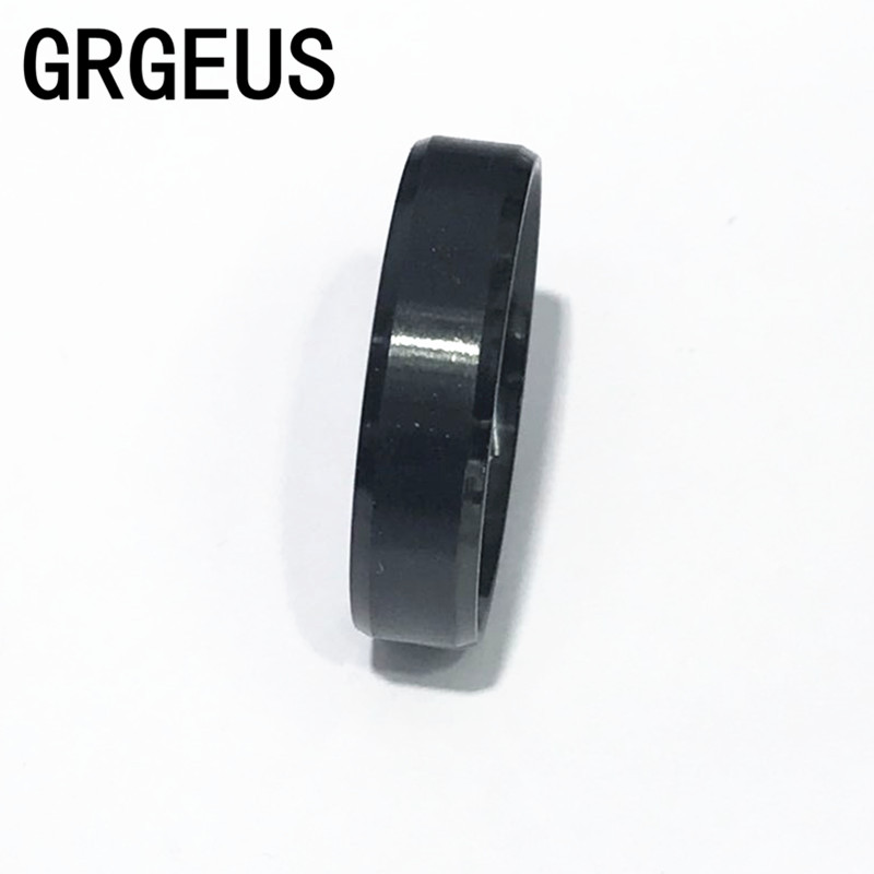 Fashion Black Simple Men Ring 6mm Men Jewelry Stainless Steel Wedding Engagement Ring(China (Mainland))