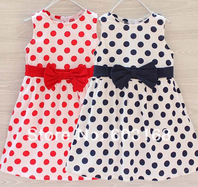 Dot Print (6Pcs/lot) Cotton Baby Children Kid Wear Girl's Dresses{iso-14-4-20-A2}