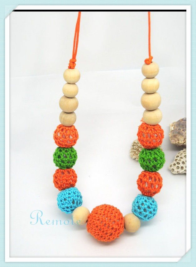 1pc sale New Chunky crochet necklace wooden beads necklace ,Summer Light Blue Green Orange color nursing necklace NWr1412(China (Mainland))