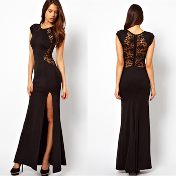 Free Shipping New Sexy Women Black Lace Party Long Dress Bodycon Split Dresses Vestidos Gowns #6126