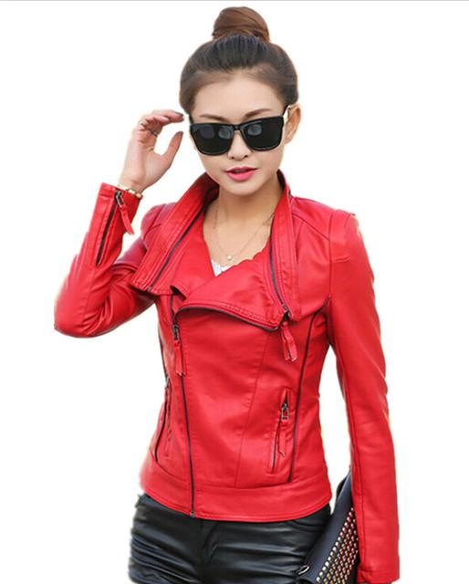 Leather coat Женщины 2015 leather cloТонкийg Короткий Повседневный jackets motorcycle ...