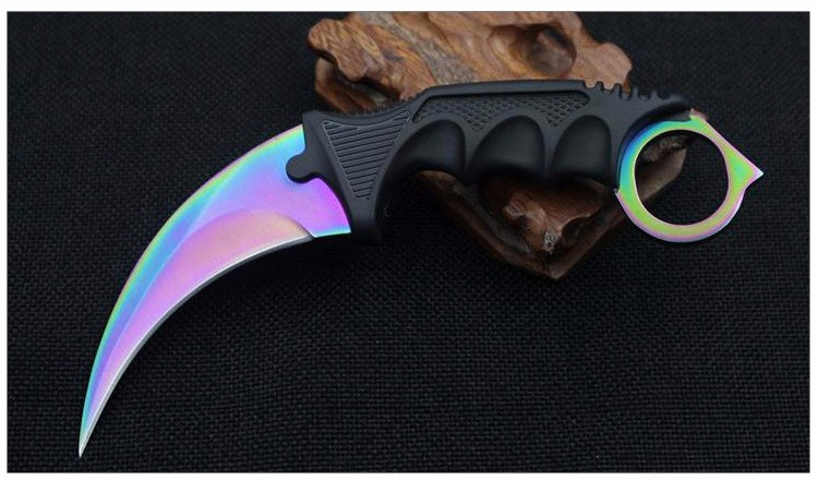 Buy Hot! Hunting Karambit Knife CS GO Never Fade Counter Strike Fighting Survival Tactical Knife Claw Camping knives hand Tools cheap