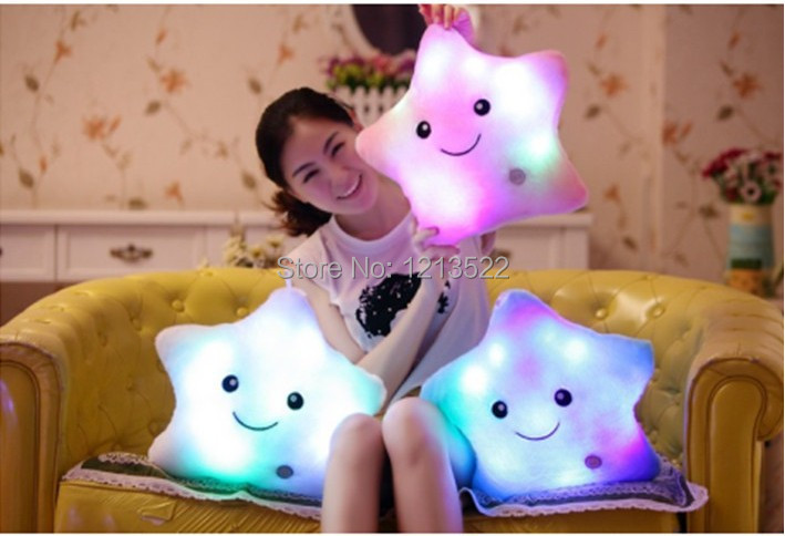 Cute Colorful LED light Smile Star Hold Pillow Shape Plush Pillows LED Bolster Three Colors for Kids Plush Toy Night Lighting(China (Mainland))