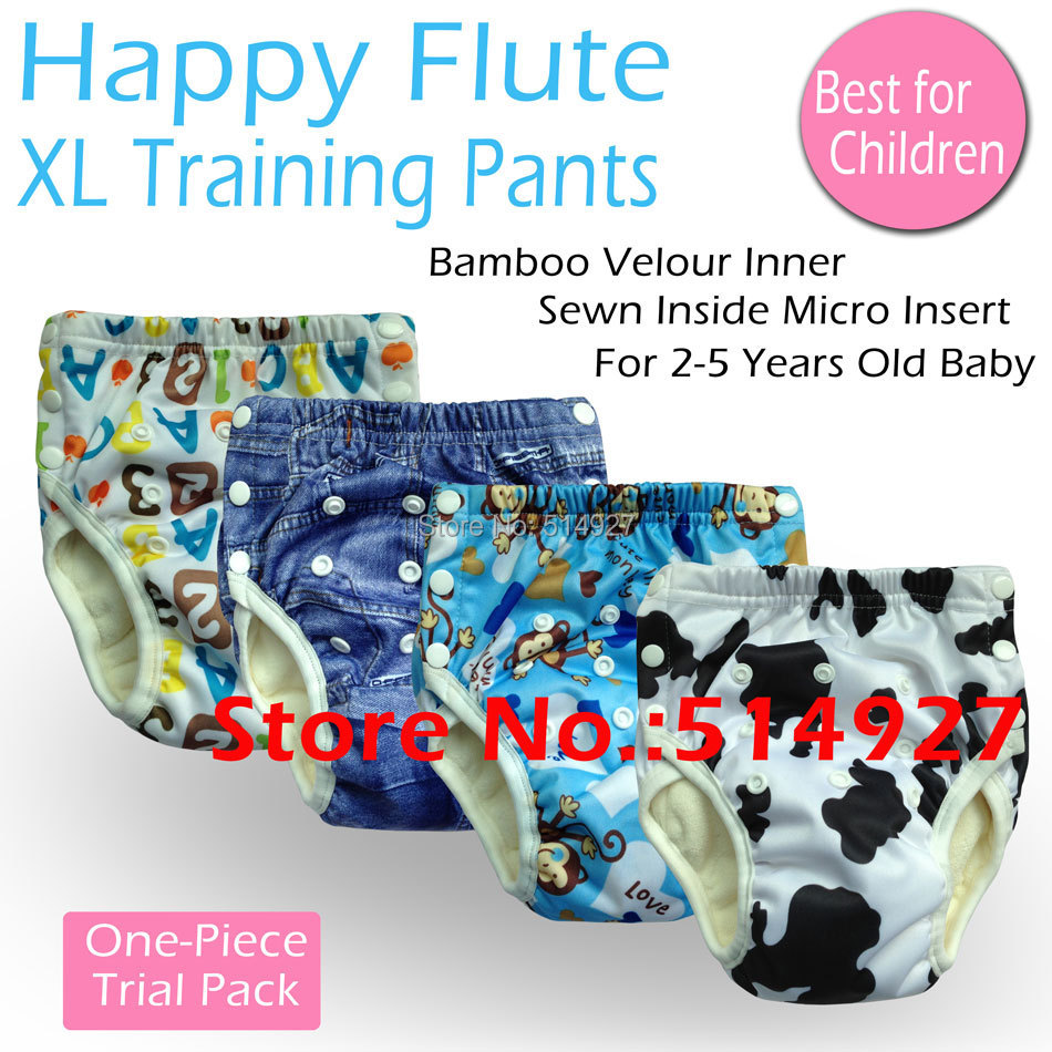 5% off, one-piece pack, Happy Flute onesize potty training pants, bamboo terry inner, tpu outer, fit babies 2-5 years old<br><br>Aliexpress